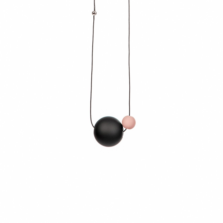044 | Black Necklace with Little Pink